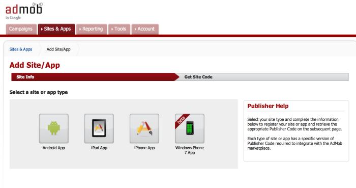 Yeni uygulama için platform seçim ekranı