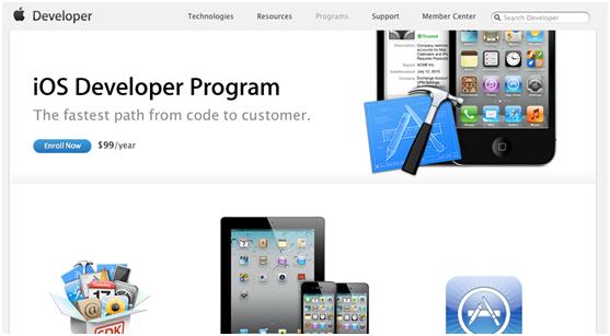 iOS geliştirici programı senelik 99 dolar istemektedir