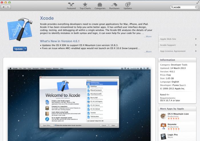 xCode programının AppStore'dan indirilmesi