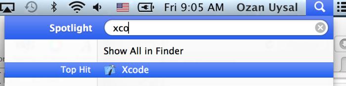 Spotlight'ı kullanarak xCode programını çalıştırabilirsiniz