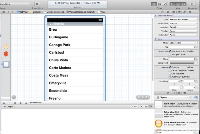 Interface Builder ekranı